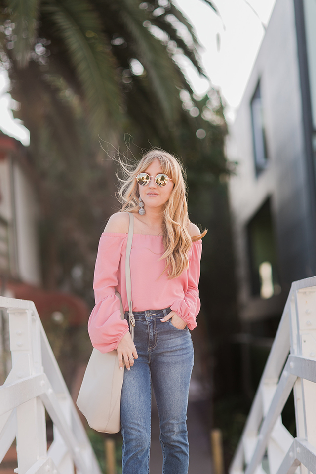 wayf rushville off the shoulder top, hannah hagler, frayed denim jeans, forever21 frayed hem jeans, shop filbert baker bag, designer vegan handbag, embroidered mules, public desire mules