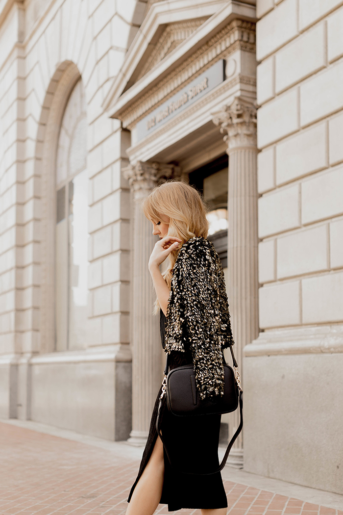 my 5 obtainable new year's resolutions, nye, nye fashion, Angela Roi crossbody bag, sequined blazer, new year's eve fashion, public desire black booties, vegan booties, vegan leather handbag, designer vegan handbags, everly velvet dress, Hannah Hagler, Hannah champagne lifestyle, champagne lifestyle, champagne lifestyle blog, fashion blogger, affordable fashion blogger, budget friendly fashion blog, budget friendly fashion blogger, beauty blogger, youtuber, female youtuber, interior designer, affordable fashion, chic fashion ideas, fashion inspiration, vegan fashion, vegan fashion bloggers, vegan fashion, cruelty free fashion, cruelty free, vegan handbag, vegan designer handbag, veggani ace blush pink, round pink vegan handbag, paige printed dress, off the shoulder printed dress, floral dress, public desire pearl sandals, pearl embellished, vegan fashion, sustainable fashion, cruelty-free fashion