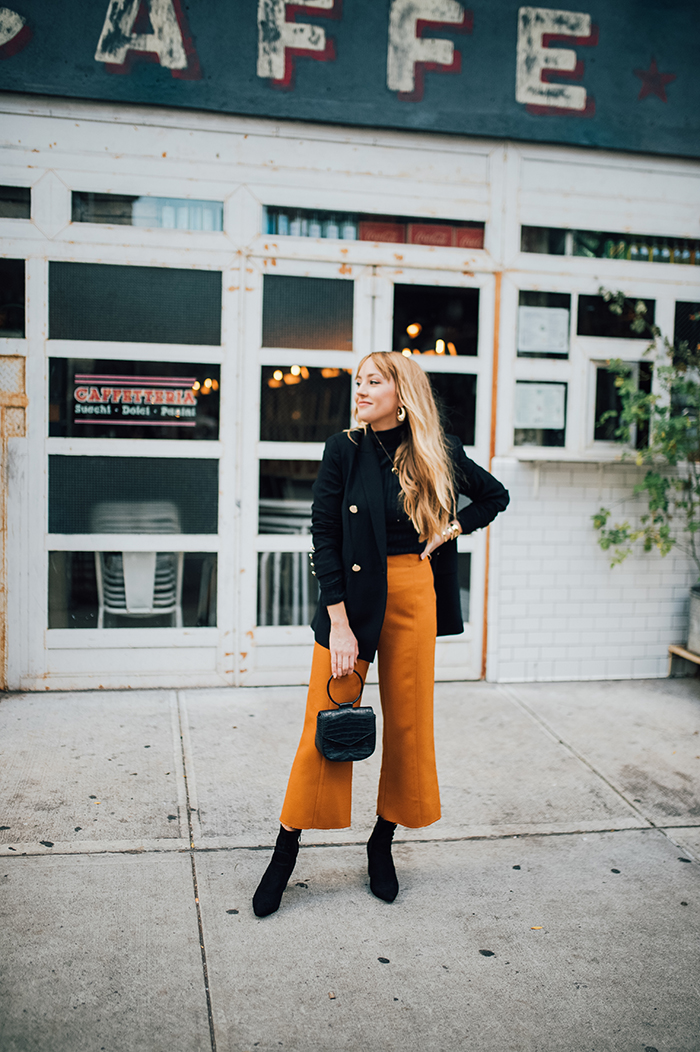 17 things I learned in 2017. topshop wide leg pants, black and gold blazer, how to style culottes, how to style cropped flares, how to style a black blazer, vegan handbag, nastygal vegan handbag, public desire rayna booties, Hannah Hagler, Hannah champagne lifestyle, champagne lifestyle, champagne lifestyle blog, fashion blogger, affordable fashion blogger, budget friendly fashion blog, budget friendly fashion blogger, beauty blogger, youtuber, female youtuber, interior designer, affordable fashion, chic fashion ideas, fashion inspiration, vegan fashion, vegan fashion bloggers, vegan fashion, cruelty free fashion, cruelty free, vegan handbag, vegan designer handbag, veggani ace blush pink, round pink vegan handbag, paige printed dress, off the shoulder printed dress, floral dress, public desire pearl sandals, pearl embellished, vegan fashion, sustainable fashion, cruelty-free fashion