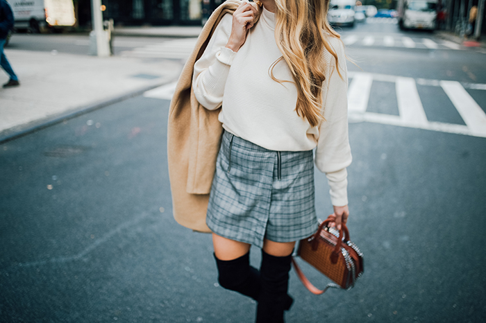 thoughts on 2018 and my plan to conquer my morning routine resolution, 2018 resolutions, plaid skirt, zara turtleneck, how to style a plaid skirt, tan coat, over the knee boots, vegan over the knee boots, stella mccartney falabella box bag, vegan designer handbag, Hannah Hagler, Hannah champagne lifestyle, champagne lifestyle, champagne lifestyle blog, fashion blogger, affordable fashion blogger, budget friendly fashion blog, budget friendly fashion blogger, beauty blogger, youtuber, female youtuber, interior designer, affordable fashion, chic fashion ideas, fashion inspiration, vegan fashion, vegan fashion bloggers, vegan fashion, cruelty free fashion, cruelty free, vegan handbag, vegan designer handbag, veggani ace blush pink, round pink vegan handbag, paige printed dress, off the shoulder printed dress, floral dress, public desire pearl sandals, pearl embellished, vegan fashion, sustainable fashion, cruelty-free fashion