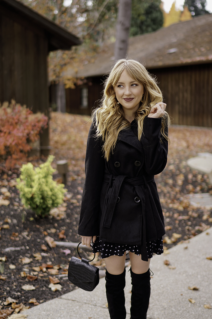 the importance of a date night, rampage over the knee boots, rampage wool-free peacoat, vegan peacoat, vegan over-the-knee-boots, date night outfit, date night ideas, vegan blogger, vegan fashion, vegan beauty, cruelty-free, hannah hagler, hello hannah