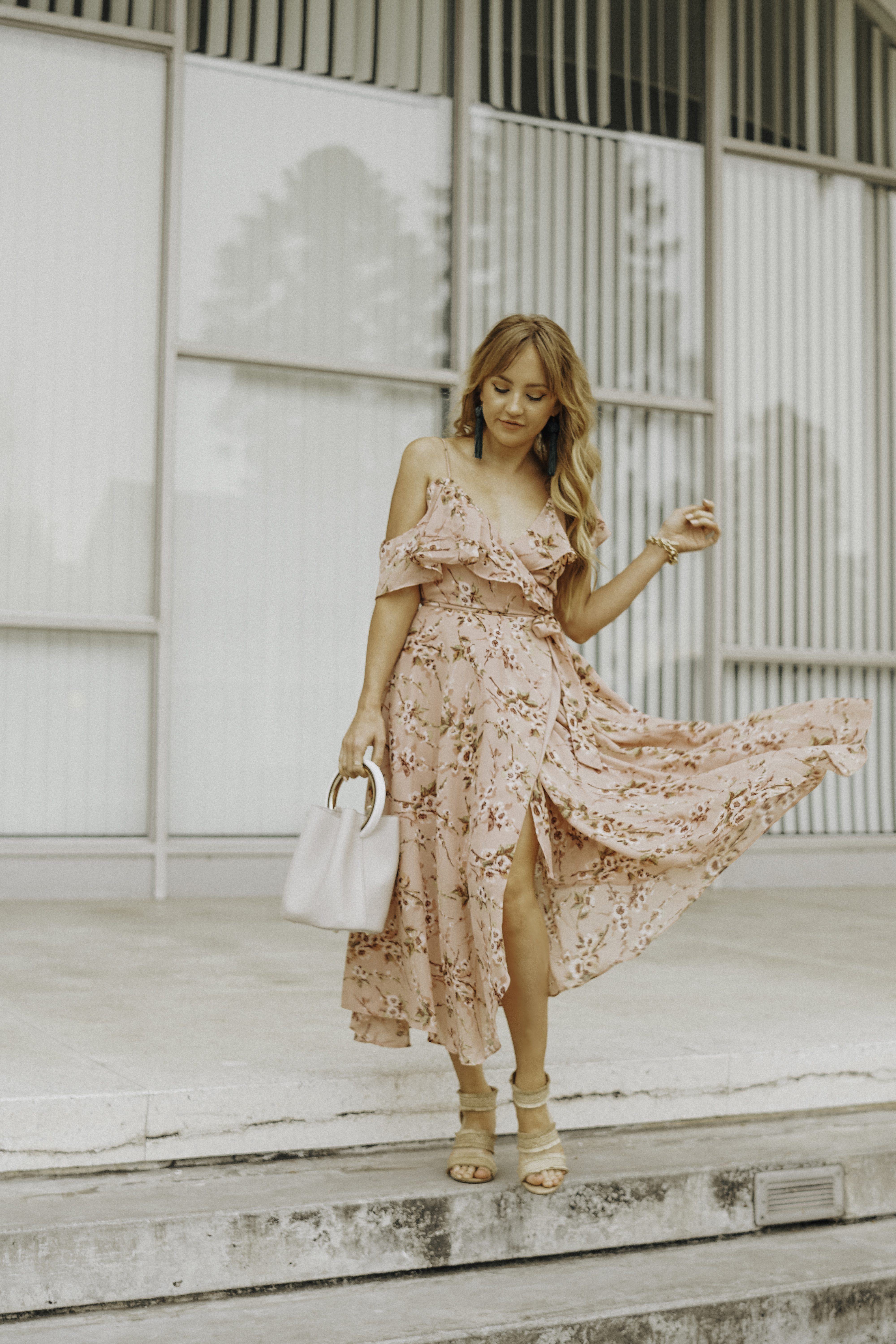 hannah hagler, hello hannah, straw heeled sandals, melie bianco gemma crossbody, melie bianco vegan handbag, wayf floral dress, vanessa mooney tassel earrings, cruelty-free fashion, sustainable fashion bloggers