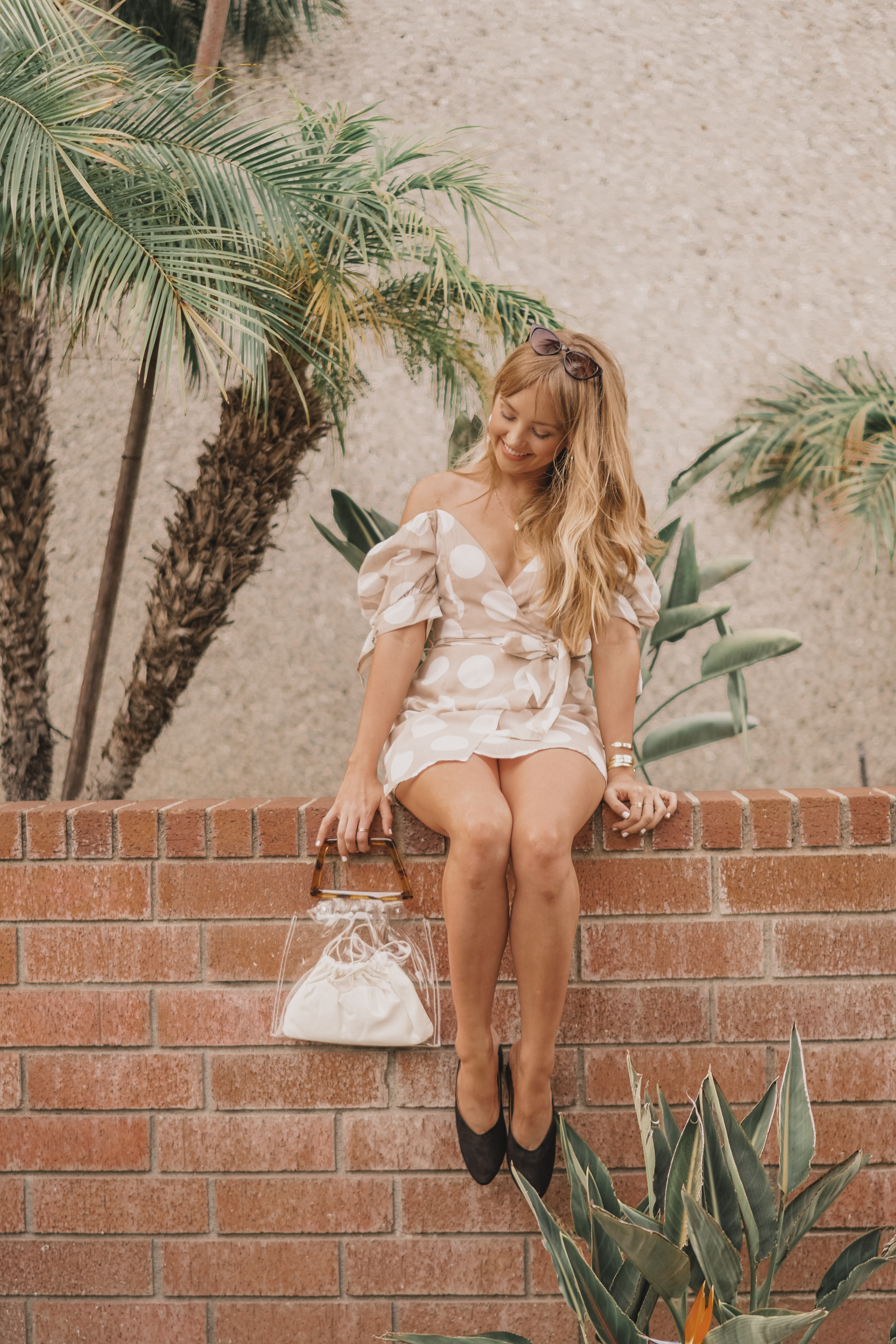 princess polly polka dot dress, with your desire mini dress, translucent bag, vegan friendly fashion, off the shoulder dress, vegan mules, vegan shoes, cruelty-free fashion, vegan fashion, hannah hagler, hello hannah, lulu's, baublebar, urban outfitters