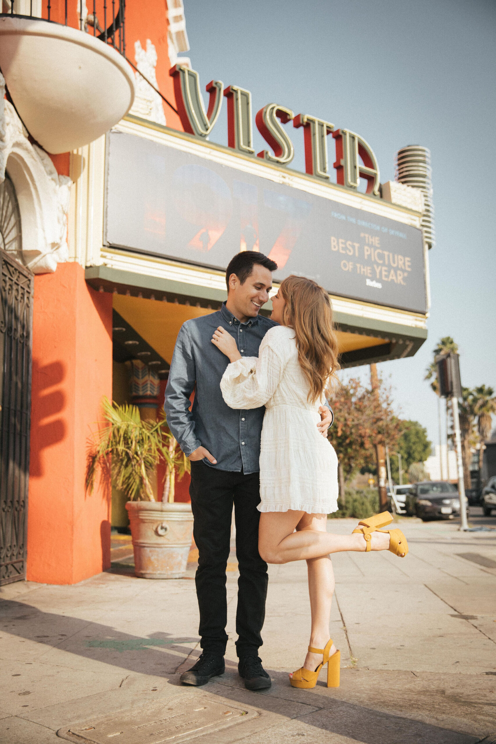 vista theater engagement photos